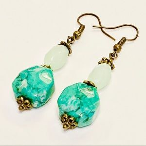 Aqua Green Magnesite Sea Foam Chalcedony Earrings